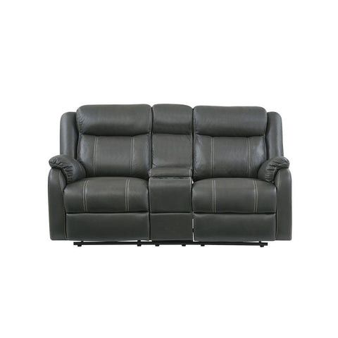 Global Furniture Gin Rummy Charcoal Reclining Loveseat