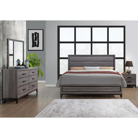 Global Furniture Kate 3 Piece Platform Bedroom Set in Foil Grey