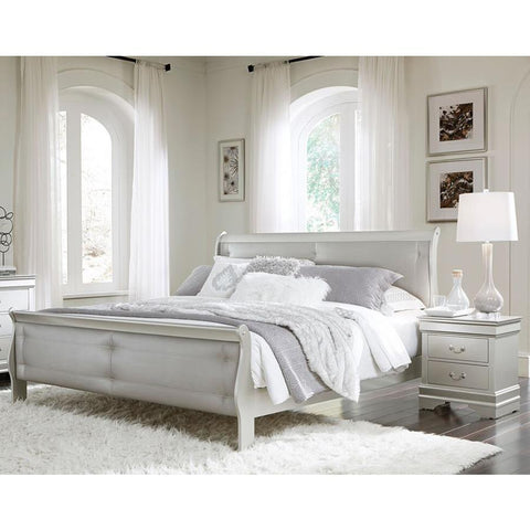 Global Furniture Marley 2 Piece Silver Tufted Sleigh Bedroom Set