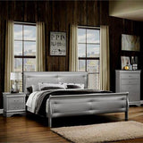 Global Furniture Marley Silver Tufted Sleigh Bed