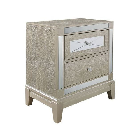 Global Furniture Mirror Textured Champagne Nightstand