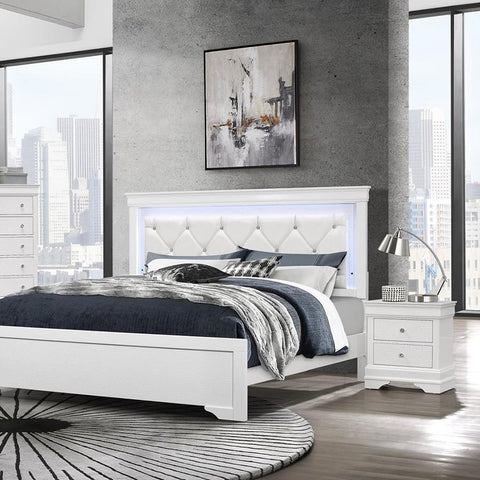 Global Furniture Pompei 2 Piece Metallic White Platform Bedroom Set w/LED Light