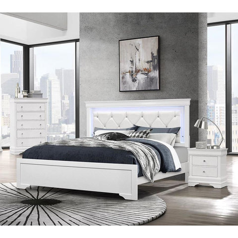Global Furniture Pompei 3 Piece Metallic White Platform Bedroom Set w/LED Light