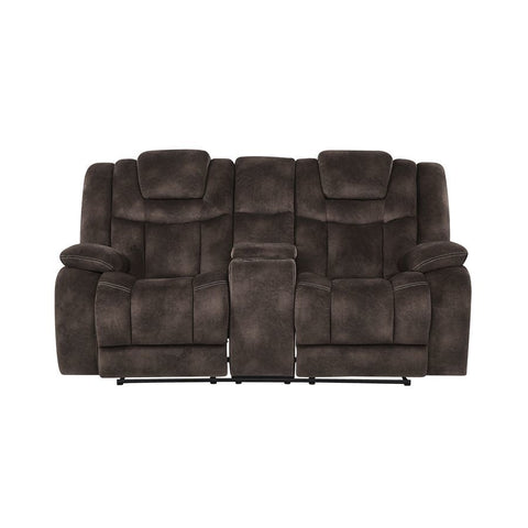Global Furniture Power Reclining Loveseat w/Adjustable Headrest in Chocolate
