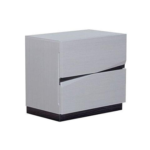 Global Furniture Scarlett Nightstand in Silver & Grey