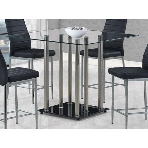Global Furniture Square Glass Top Bar Table in Black