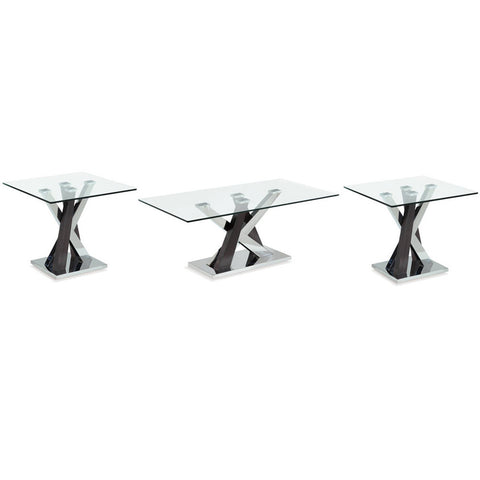 Global Furniture T4100 3 Piece Glass Coffee Table Set w/Wenge & Chrome Base