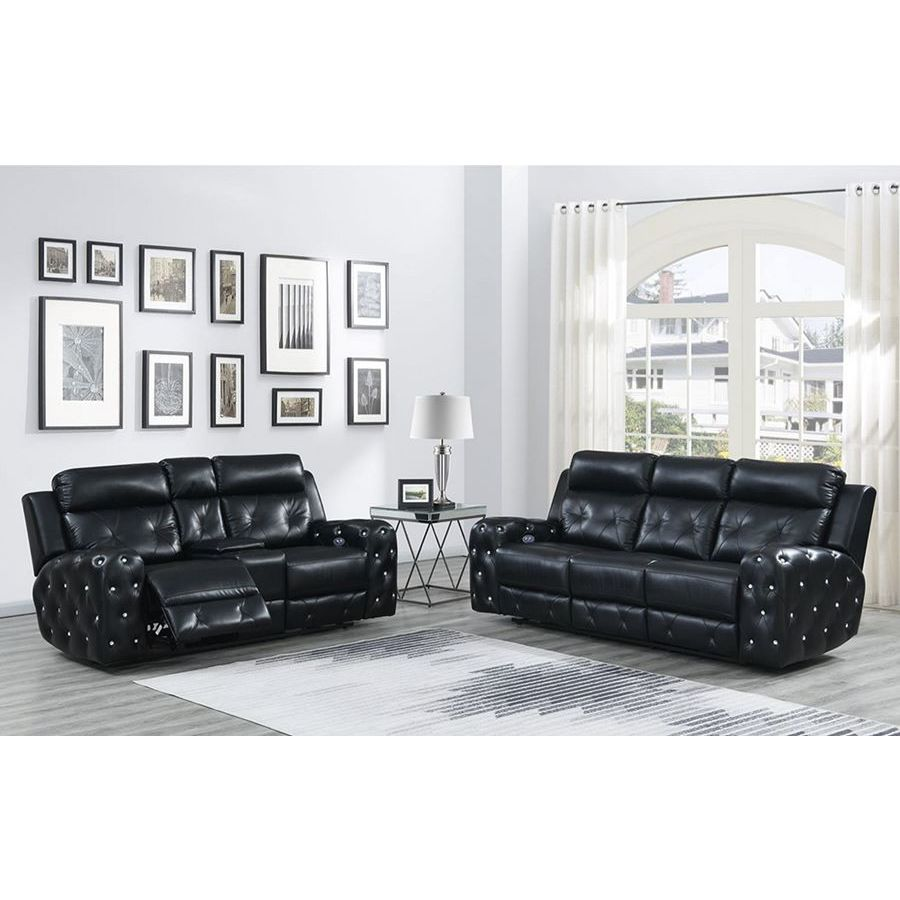 Global Furniture Usa Jewel 2 Piece Embellished Black Power Recline