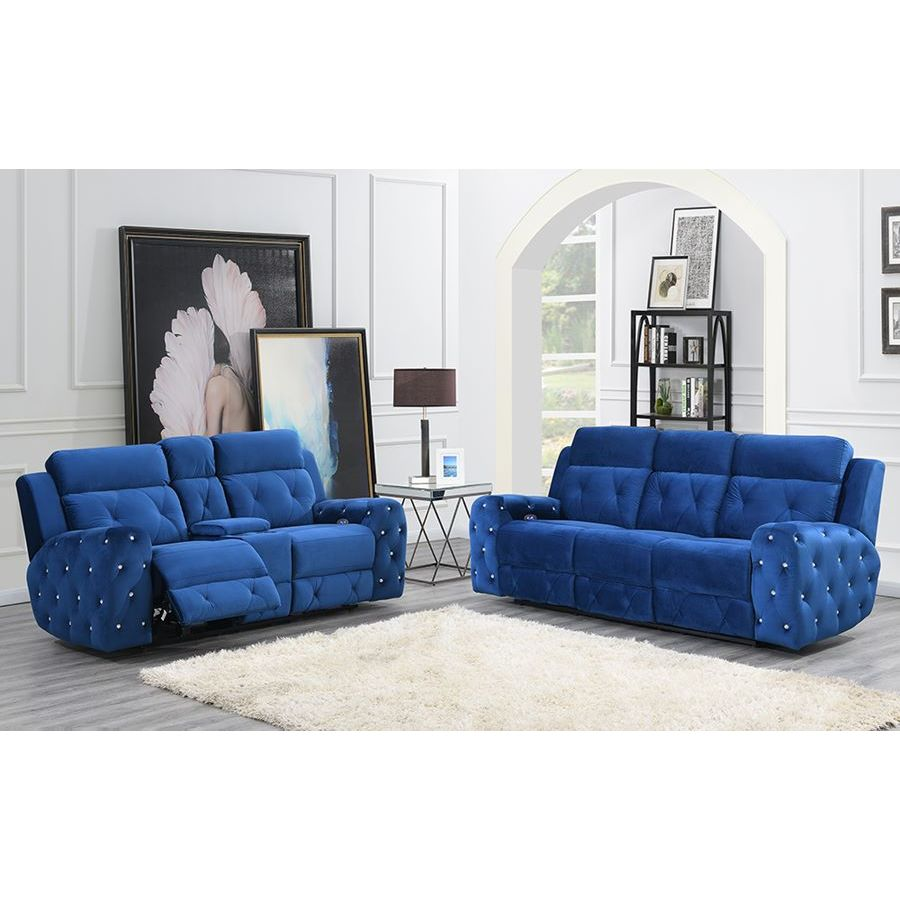 Furniture Stores Usa: Global Furniture USA Jewel 2 Piece Embellished Blue Power