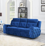 Global Furniture USA Jewel 2 Piece Embellished Blue Power Recline Living Room Set