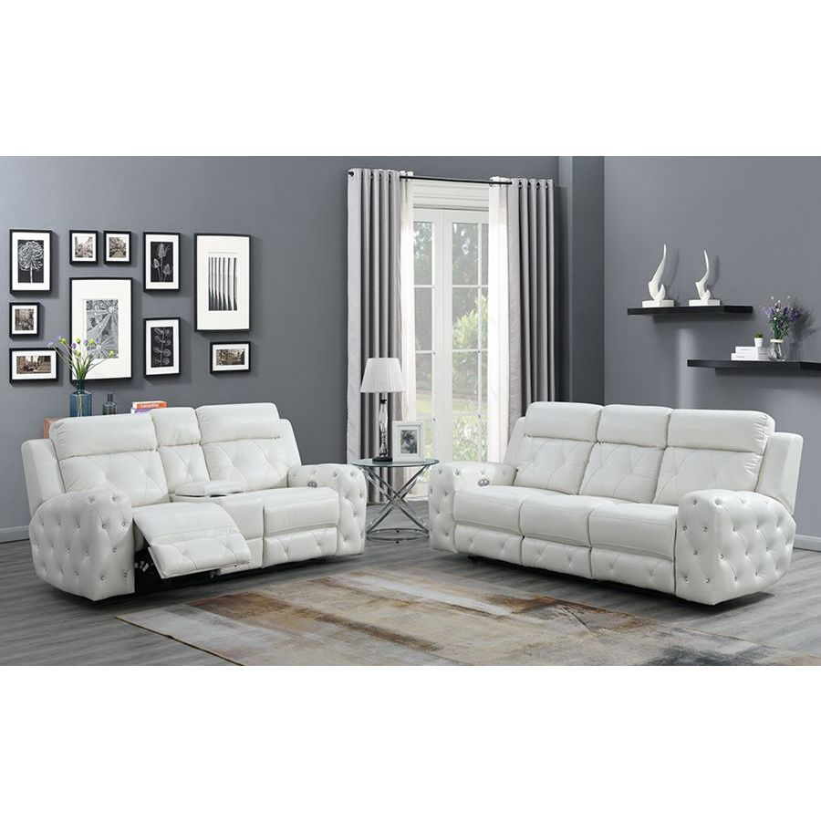 Global Furniture Usa Jewel 2 Piece Embellished White Power Recline