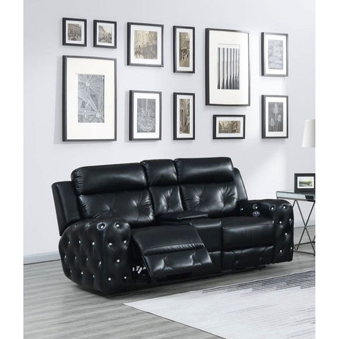 Global Furniture USA Jewel Embellished Black Power Console Recline Loveseat