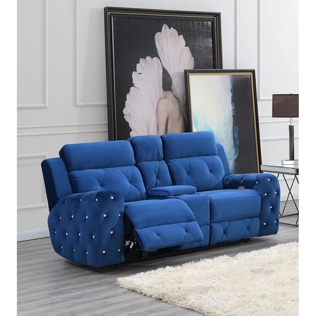 Strange Global Furniture Usa Jewel Embellished Blue Power Console Recline Loveseat Alphanode Cool Chair Designs And Ideas Alphanodeonline