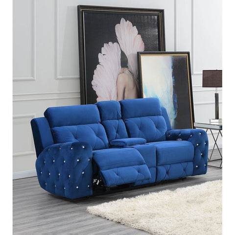 Global Furniture USA Jewel Embellished Blue Power Console Recline Loveseat