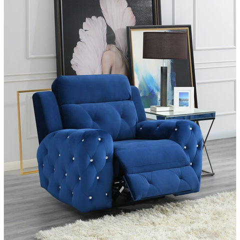 Global Furniture USA Jewel Embellished Blue Power Recliner