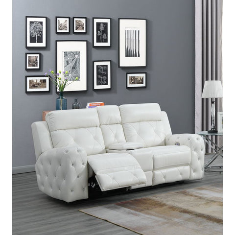 Global Furniture USA Jewel Embellished White Power Console Recline Loveseat