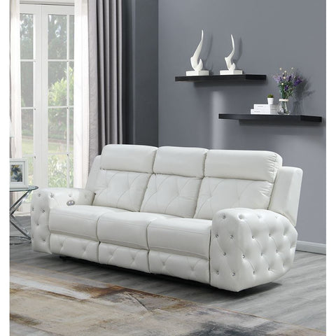 Global Furniture USA Jewel Embellished White Power Recline Sofa