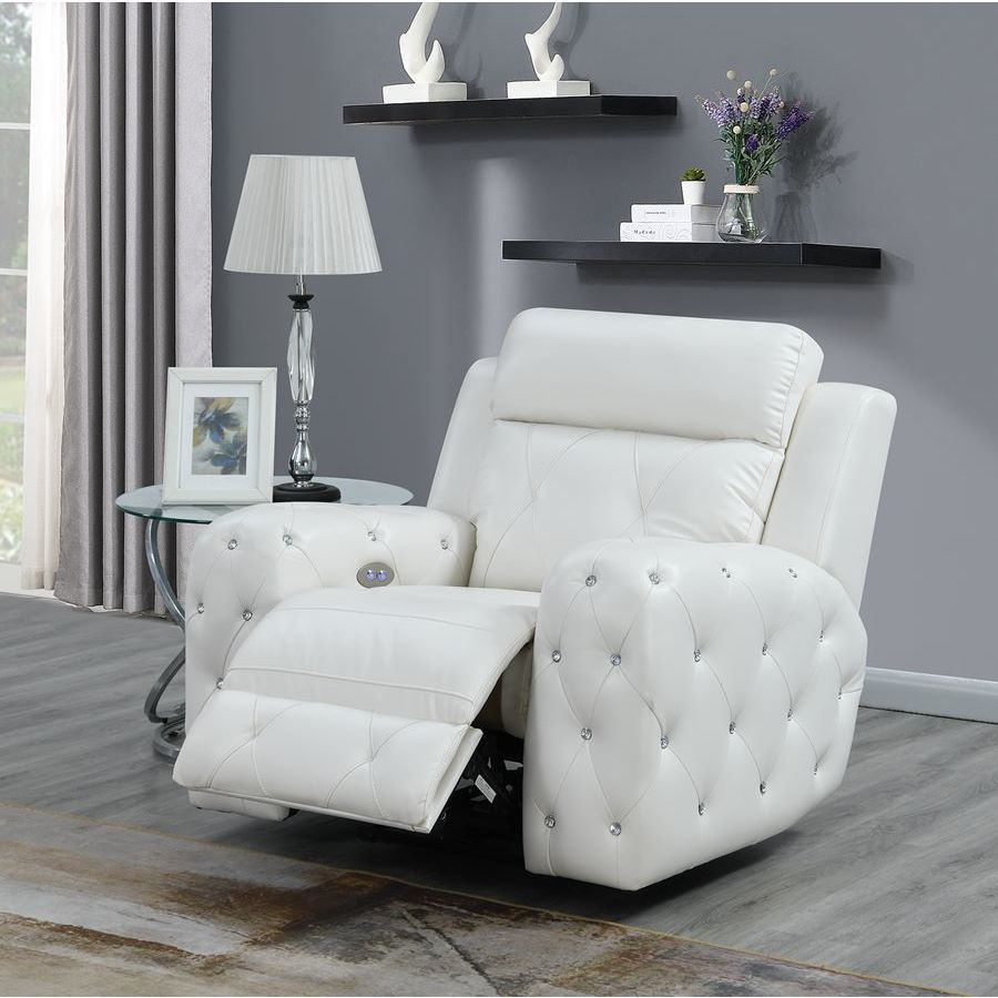 Global Furniture Usa Jewel Embellished White Power Recliner Beyond
