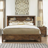 Global Furniture Victoria 3 Piece Platform Bedroom Set w/Dresser in Rustic Oak