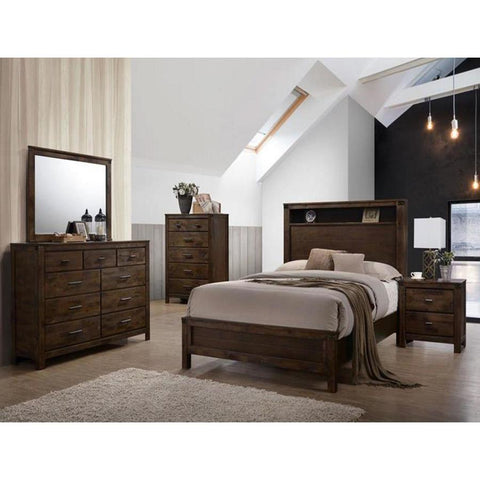 Global Furniture Victoria 4 Piece Platform Bedroom Set in Rustic Oak