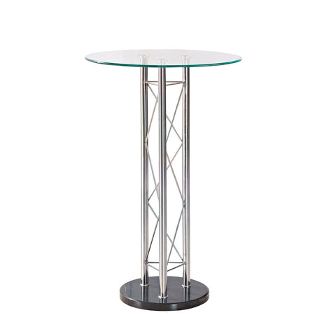 Global USA M208BT Round Clear Glass Top Bar Table w/ Black & Chrome Base