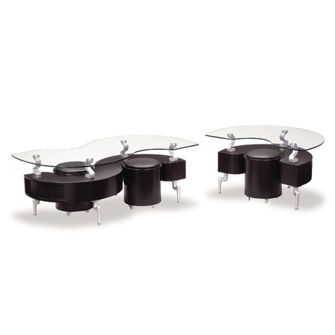 Global USA T288 2 Piece Coffee Table Set in Black w/ Black Stools