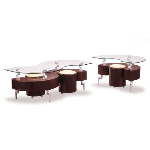 Global USA T288 2 Piece Coffee Table Set in Mahogany w/ Cappuccino Stools