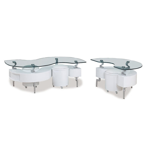 Global USA T288 2 Piece Coffee Table Set in White w/ White Stools