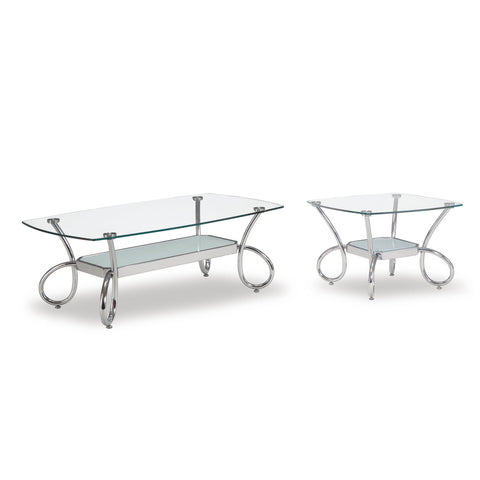 Global USA 559 2 Piece Clear Glass Coffee Table Set w/ Chrome Legs