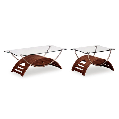 Global USA T63 Meryl 2 Piece Glass Coffee Table Set in Mahogany w/ Chrome Legs