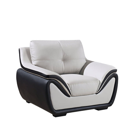 Global U3250-R6U6-GR/BL-CH Chair in Grey & Black Leather