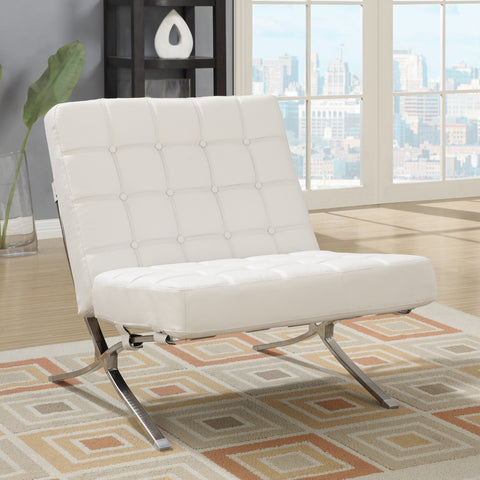 Global U6293-WH-CH Chair in White Leather