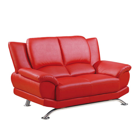 Global USA 9908 Bonded Leather Loveseat in Red