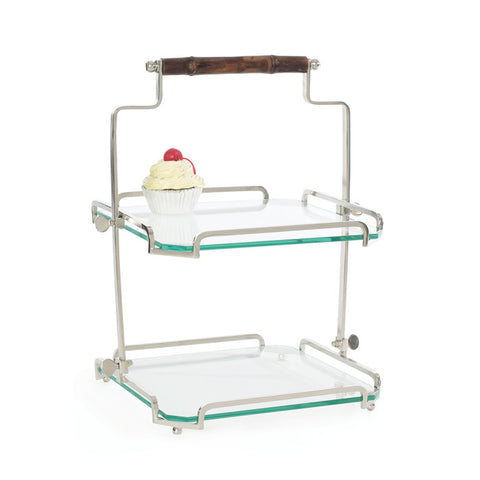 Go Home Bamboo Handle 2-Tier Stand