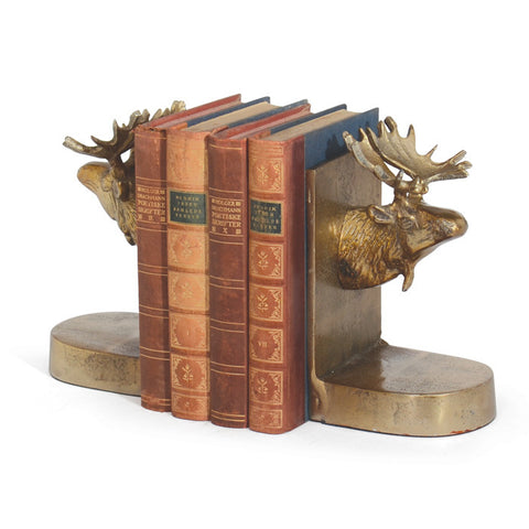 Go Home Pair Of Moose Bookends