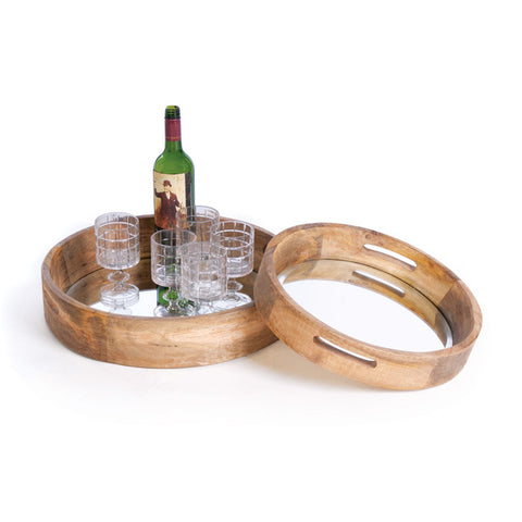 Go Home Set Of 2 Wood And Mirror Tray
