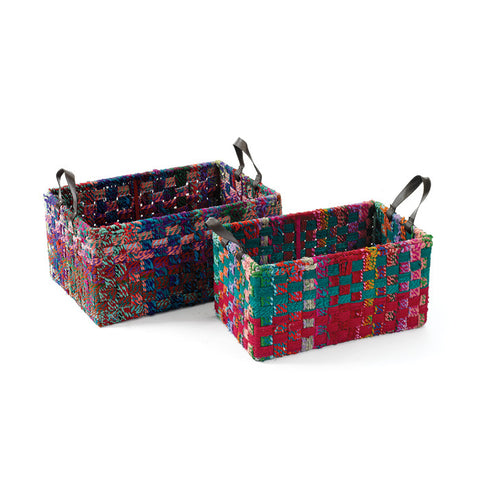 Go Home Woven Fabric Rectangle Baskets