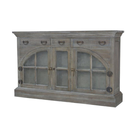 Guild Master 6415507 Farmhouse China Credenza In Waterfront Grey Stain & White Wash