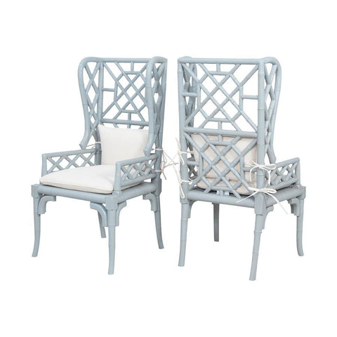 Guild Master 6915510P Bamboo Wing Back Chairs In Manor Slate - Set of 2