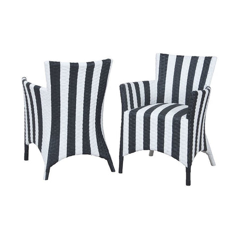 GuildMaster Rattan Peel Chairs In Hand Painted Black And White Stripe Finish - Set Of 2