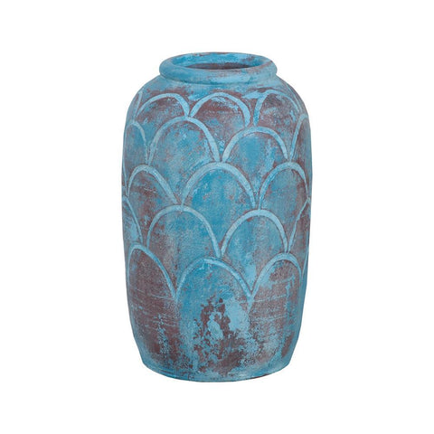 "GuildMaster Rustic Blu Ii Distressed Light Blue 18"" Hand-Formed Terracotta Vase With Pomegranate Pattern"
