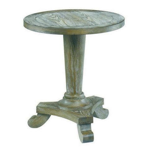Hammary 090-349 Hidden Treasures Driftwood Round Pedestal End Table