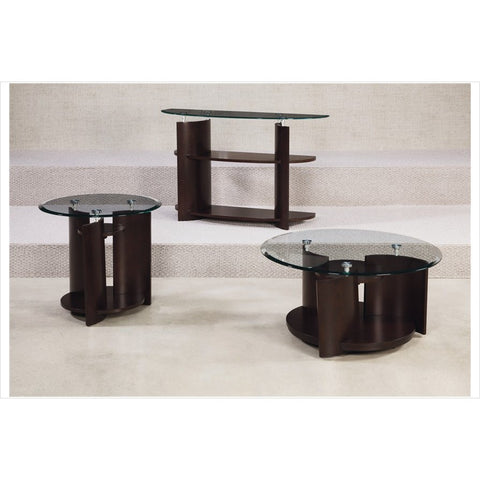 Hammary Apex Round 3 Piece Cocktail Table Set in Dark Cherry