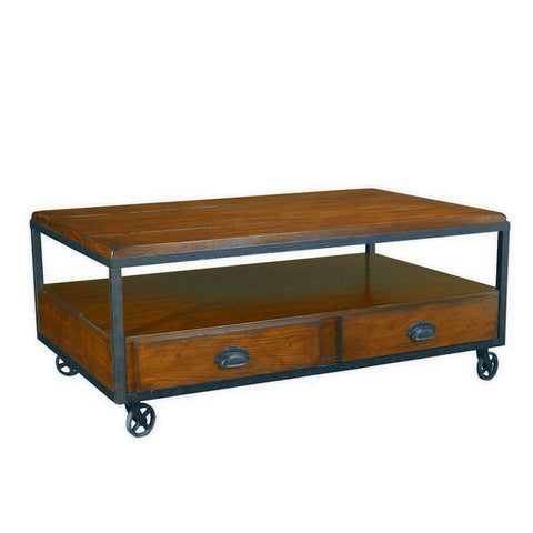 Hammary Baja Rectangular Storage Cocktail Table w/ Casters