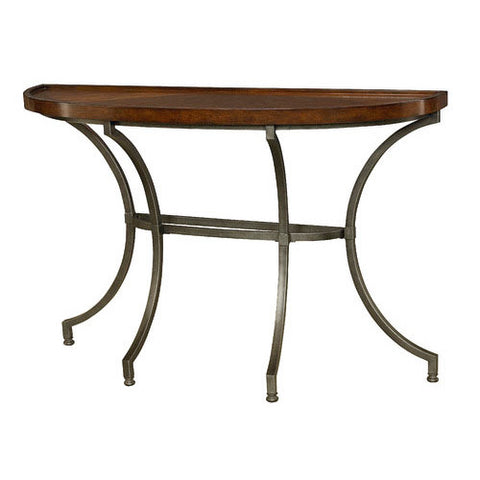 Hammary Barrow Half Moon Sofa Table w/ Mahogany Top & Metal Base
