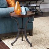 Hammary Barrow Round Chairside Table w/ Mahogany Top & Metal Base