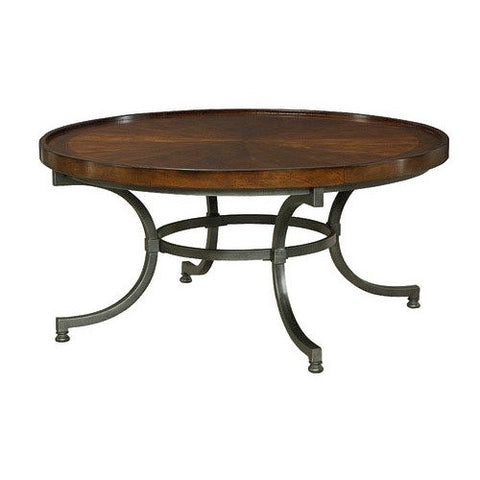 Hammary Barrow Round Cocktail Table w/ Mahogany Top & Metal Base