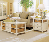 Hammary Camden-Light 2 Piece Coffee Table Set w/ Baskets in Buttermilk