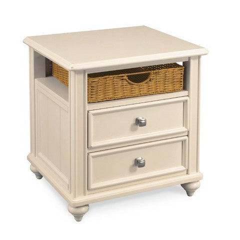 Hammary Camden-Light 2 Drawer Side Table w/ 1 Basket in Buttermilk