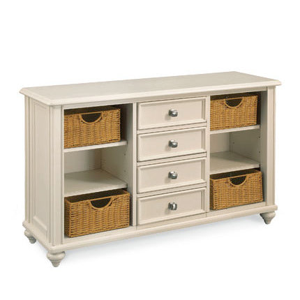 Hammary Camden-Light 4 Drawer Console Table w/ 4 Baskets in Buttermilk